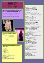 English Worksheet: Sk8er Boy by Avril Lavigne