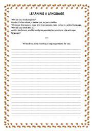 English Worksheets: LEARNING A LANGUAGE