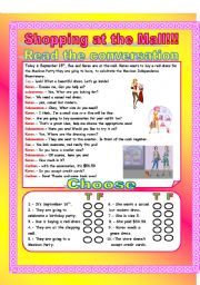 English Worksheets: Shopping at the mall!