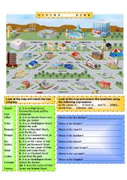 English Worksheet: Town Map, Giving directions