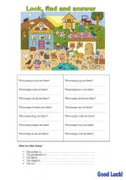 English Worksheets: look, find and answer