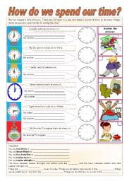 English Worksheet: How do we spend our time? - hours - week - months - seasons - pres. simple - adv. frequency ((3 pages)) ***fully editable