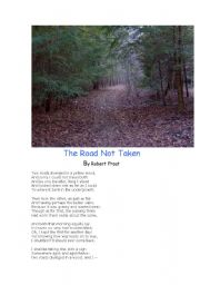 English Worksheet: Poetry - The Road Not Taken