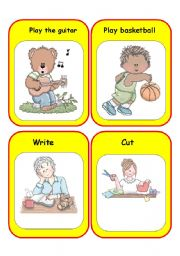 English Worksheet: Cards for dice game.