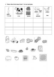 english worksheet where does food come from. Black Bedroom Furniture Sets. Home Design Ideas