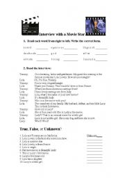 English Worksheets: Interview with a Movie Star