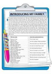 English Worksheets: Introducing my family. Reading comprehension.