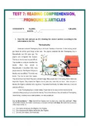 English Worksheets: TEST 7: READING COMPREHENSION #2, PRONOUNS &ARTICLES