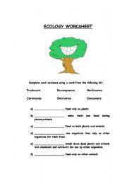 English Worksheet: Ecology Worksheet