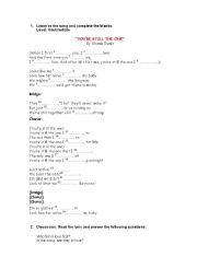 English Worksheets: Song You are still the one by Shania Twain