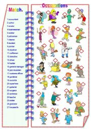 English Worksheets: Occupations Part 2 - Matching activity **fully editable