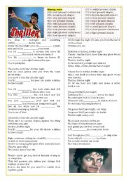 English Worksheets: Thriller (Pres. Simple X Pres. Continuous) ((2 pages)) ***fully editable