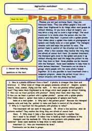 English Worksheet: phobias