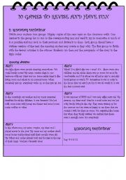 English Worksheet: 10  GAMES TO REVISE AND HAVE FUN