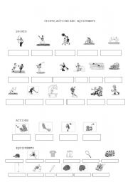 English Worksheets: Sports, actions and equipments