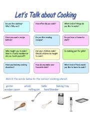 English Worksheet: Let�s talk about Cooking