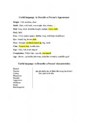 English Worksheets: useful language to describe a person