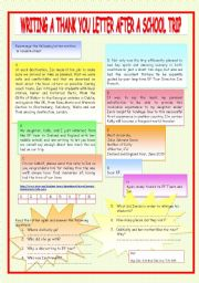 Thank you letter worksheets english worksheet writing a thank you letter spiritdancerdesigns Choice Image