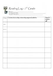 English Worksheet: Silent Reading Log