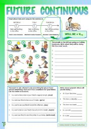 English Worksheet: Future Continuous