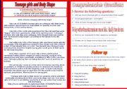 English Worksheets: Teenage Girls and Body Shape