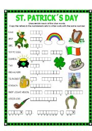 English Worksheet: DOUBLE PUZZLE (ST. PATRICK´S DAY) + KEY