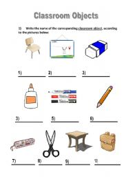 English Worksheets: Classroom Objects activity
