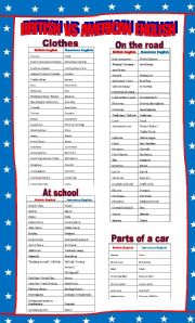 English Worksheets: British vs American English part 1