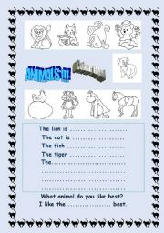 English Worksheets: Paint these cute animals and describe them.