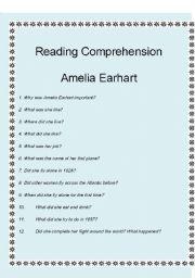 English Worksheets: Reading Comprehension - Amelia Earthart