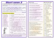 English Worksheets: Short news 2 - comprehension + vocabulary (4 types of exercises) ***fully editable