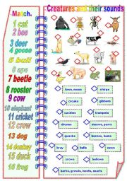 English Worksheets: Creatures and their sounds Part 1 of 2 - Matching activities ** fully editable
