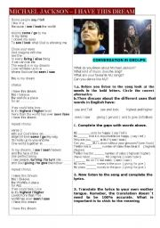 English Worksheet: Song Music Micheal Jackson  I have a dream