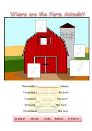 English Worksheets: Prepositions with Farm Animals