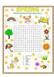 English Worksheet: WORD SEARCH (SPRING)