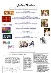 English Worksheet: cooking tv shows