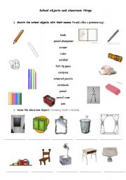 School objects and classroom things
