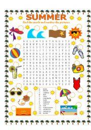 English Worksheet: WORD SEARCH (SUMMER)