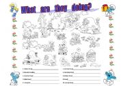 English Worksheets: Smurf Actions!!!!!!!!