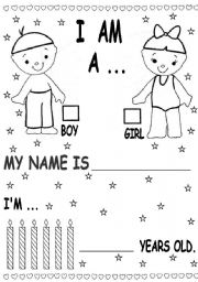 English Worksheet: kinder students