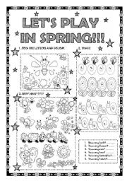 English Worksheet: LET´S PLAY IN SPRING!!! FOR LITTLE KIDS!! FULLY EDITABLE!