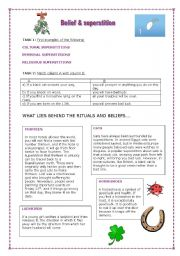 English Worksheet: Superstitions-what lies behind the beliefs
