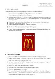 English Worksheet: Conversation Class based on a polemic video about fast food (Teacher�s copy)