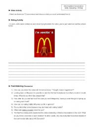 English Worksheet: Conversation Class based on a polemic video about fast food (Student�s copy)