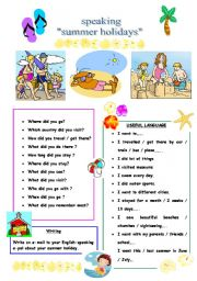 English Worksheet: conversation questions for pre-intermediate students(speak about summer holidays)
