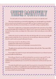 English Worksheets: think positively