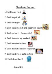 English Worksheets: Class Rules Contract