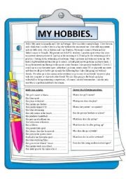 English Worksheet: My hobbies. Reading comprehension.