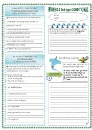 English Worksheet: wishes & second conditional (2pages)