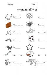 worksheet: Fill in: ee, oo, all, ar